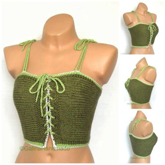 Knit Summer  Top Halter Top  Tank Top  Bikini by GalinaHandmade