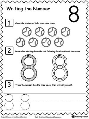 Learn to Count and Write Number 8: Teach your preschooler and kindergarten how to count and write numbers. Practice counting and writting number 8.