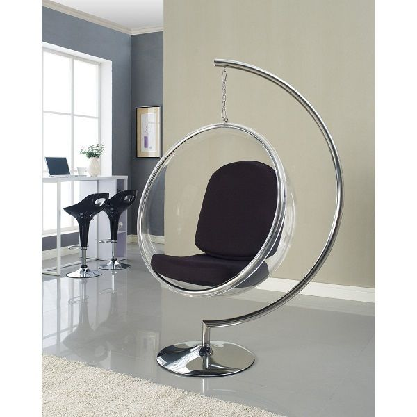 lexmod eero aarnio style bubble chair with black pillows futuristic furniture modern