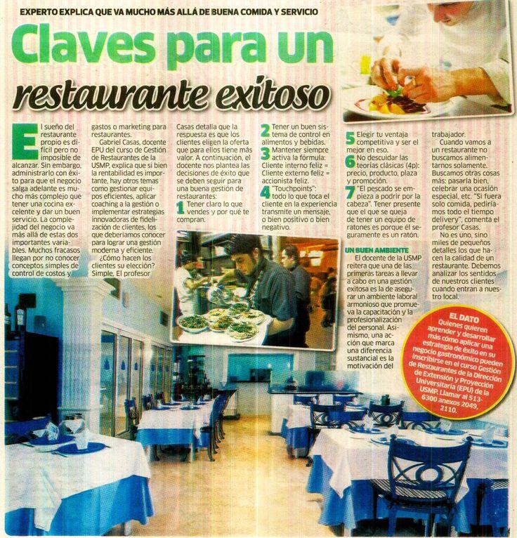 Claves para un negocio de restaurantes exitoso. Artículo en el Diario La Karibeña. 27/08/16.