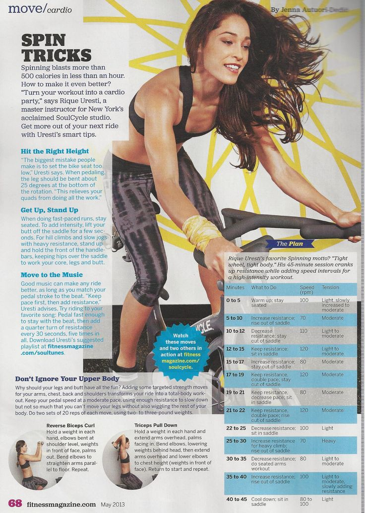 A spin workout from Soul Cycle master trainer Rique Urseti www.fitnessmagazine.com