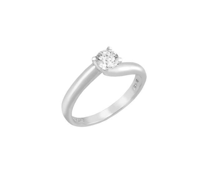Μονόπετρο δαχτυλίδι Al'oro  Κ18 λευκόχρυσο διαμάντι ZL377