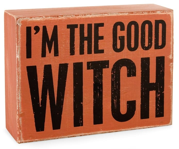 good witchI M, Funny Signs, Boxes Signs Halloween, Witches Orange, Witchy Witches, Halloween Fal, S2 Boxes, Wood Boxes, Witches Boxes