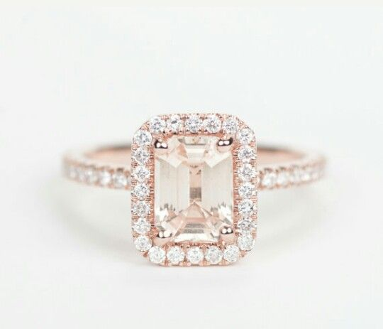 emerald cut peach champagne  saphire engagement ring rose gold