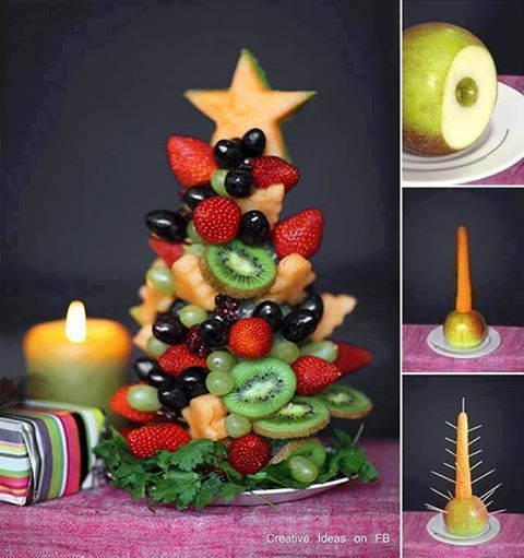Christmas tree out of fruit