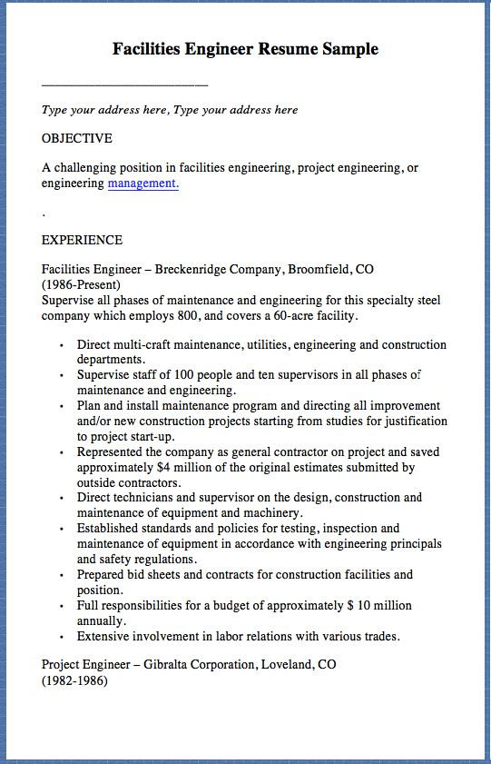 Facilities Engineer Resume Sample Type your address here, Type - facility engineer sample resume
