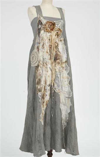 Great inspiration for altering clothing Nuno-felted dress with rusted gauze   Pam Hovel