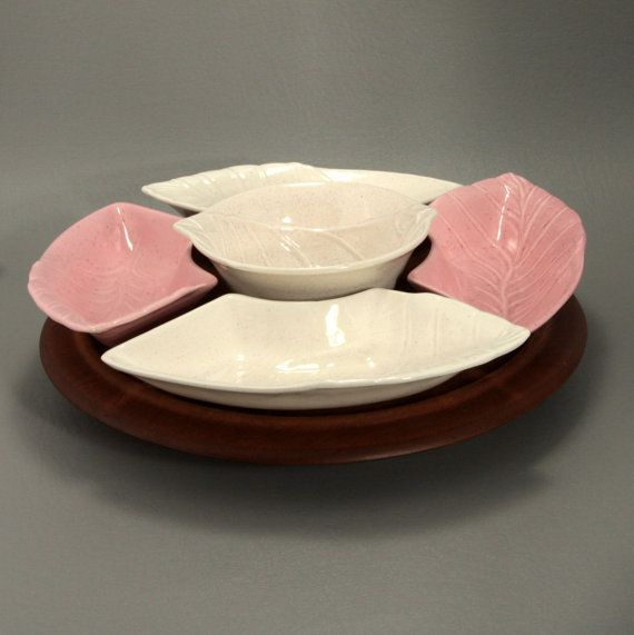 Lazy Susan Pink White California Embassy Giftware Vtg