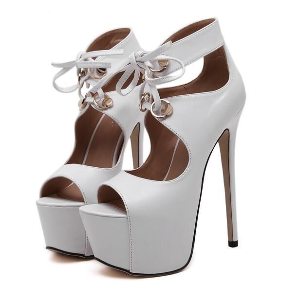 Женские летние туфли насосы женщины партия обуви насосы платформы белые свадебные обувь peep toe туфли на каблуках зашнуровать насосы черный D904