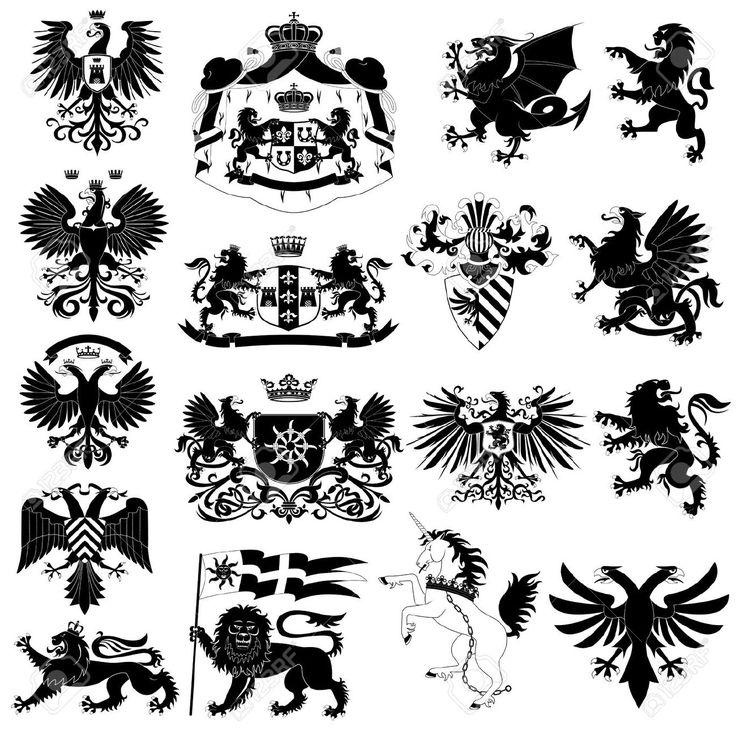 紋章および紋章の動物セット ロイヤリティフリークリップアート、ベクター、ストックイラストレーション。. Image 10452641.
