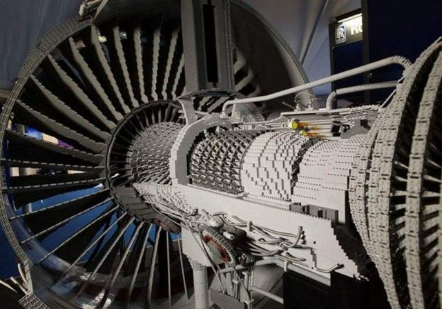 Rolls-Royce Trent Engine made out of LEGO bricks, 50% scale, 152,000 bricks.  Some assembly required.