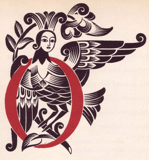 """Illustration by Vera Bock, 1944, Letter """"O"""", """"A Ring and a Riddle"""" by M. Ilin and E. Segal."""