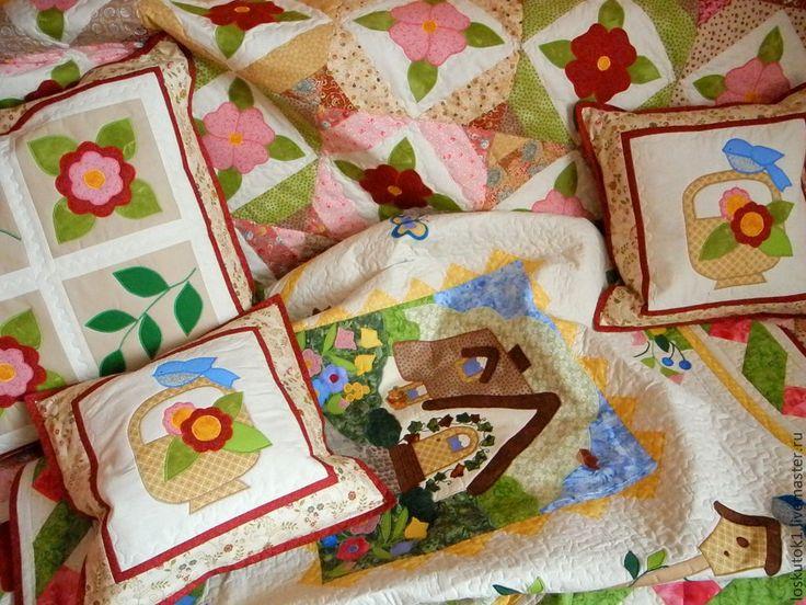 Купить лоскутное одеяло с аппликациями НЕЖНОСТЬ лоскутное покрывало - лоскутное одеяло, Лоскутные одеяла