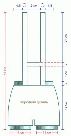 Схема вязания спицами, песочник с вышивкой, р-р 68-74 см., на 6-9 месяцев
