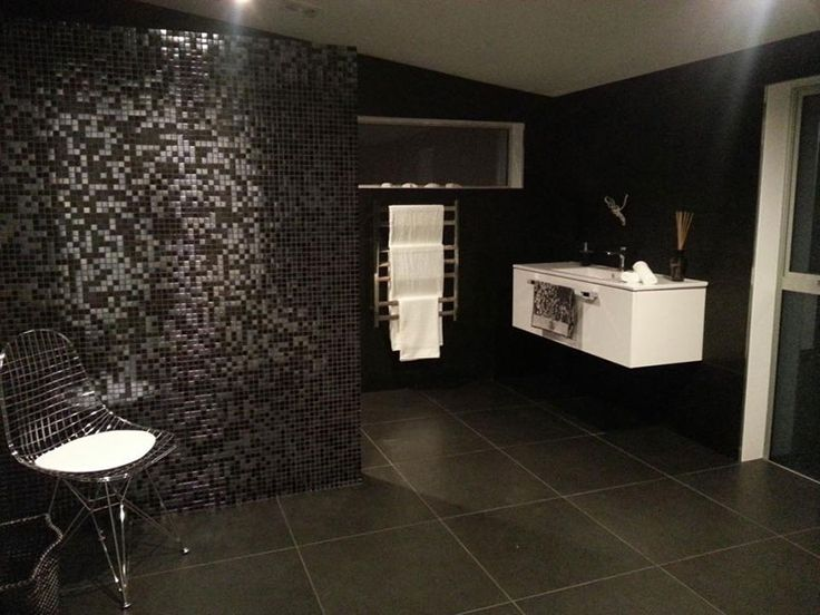 Bathroom by Moore Design & Draughting, Wellington. New Home, Black Tiles