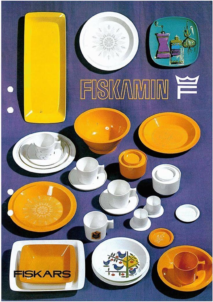 Fiskars Fiskamin. Melamine dishes from the 60's.
