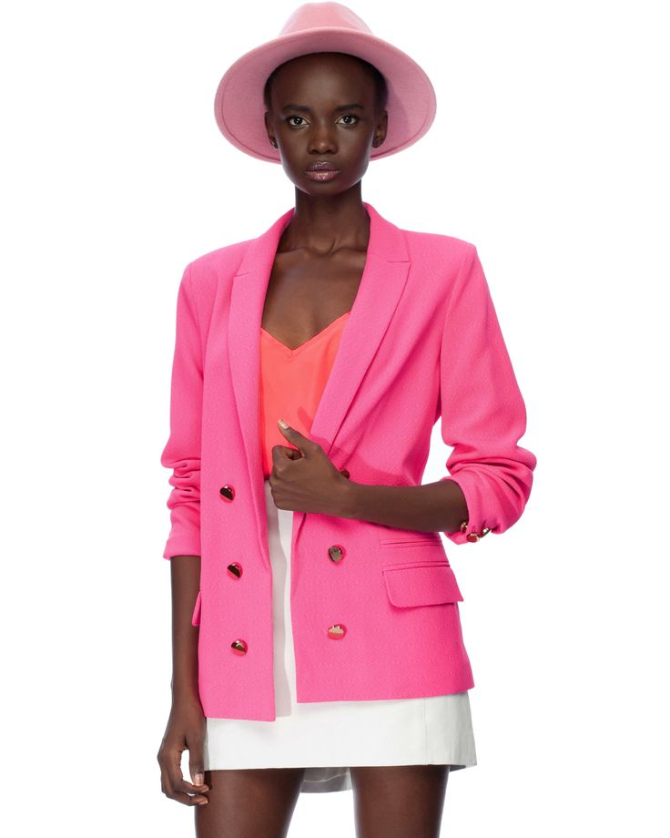 Crepe Molly Blazer in Neon Pink by River Island | THE ICONIC