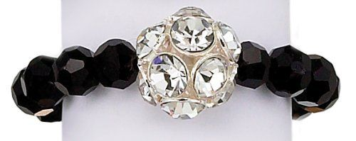 Black Metallic Faceted Beaded Elastic Ring with Rhinetone Ball World End Imports. $6.99