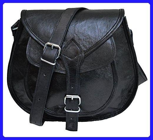 Leather purse for women satchel tote bag handbad saddle bag cross body shoulder bag gift for girls (Black) - Top handle bags (*Amazon Partner-Link)