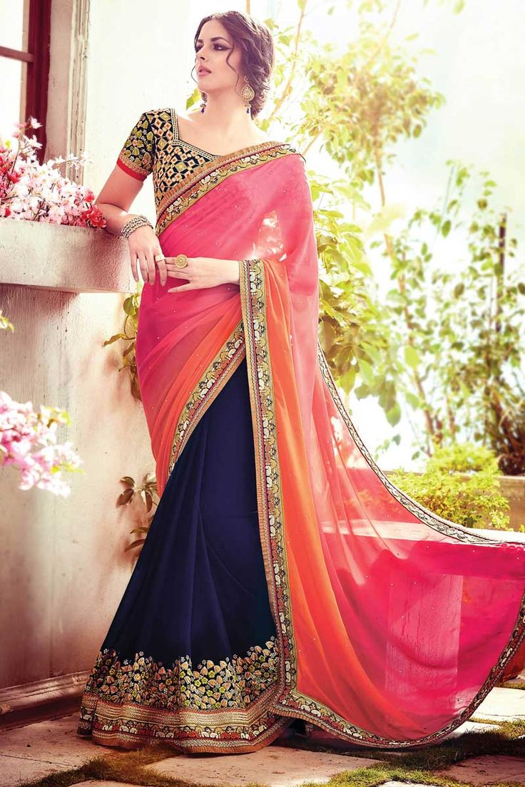 Multi Color Georgette Saree With Navy Blue Blouse Add glamour to you beauty with ethnic Multi Color Georgette Saree with Navy Blue Blouse. This saree is embellish with Zari, resham embroidery with stone work and lace border, length of saree 5.5 mtrs, 1 mtrs blouse. This is prefect for any occasion or parties.  http://www.andaazfashion.com/womens/sarees/multi-color-georgette-saree-with-navy-blue-blouse-dmv9018.html