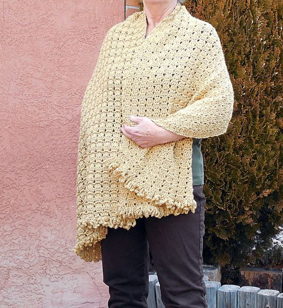 Gold Handmade Shawl and Wrap With Fringe by EntanglingDesigns