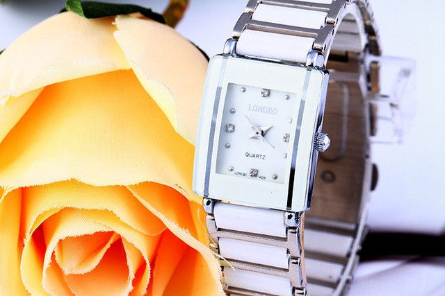 New Famous Brand Luxury Crystal Ceramic Dial Bracelet Quartz Wrist Watch LONGBO Christmas Gift for Ladies Gold Rose Silver 408