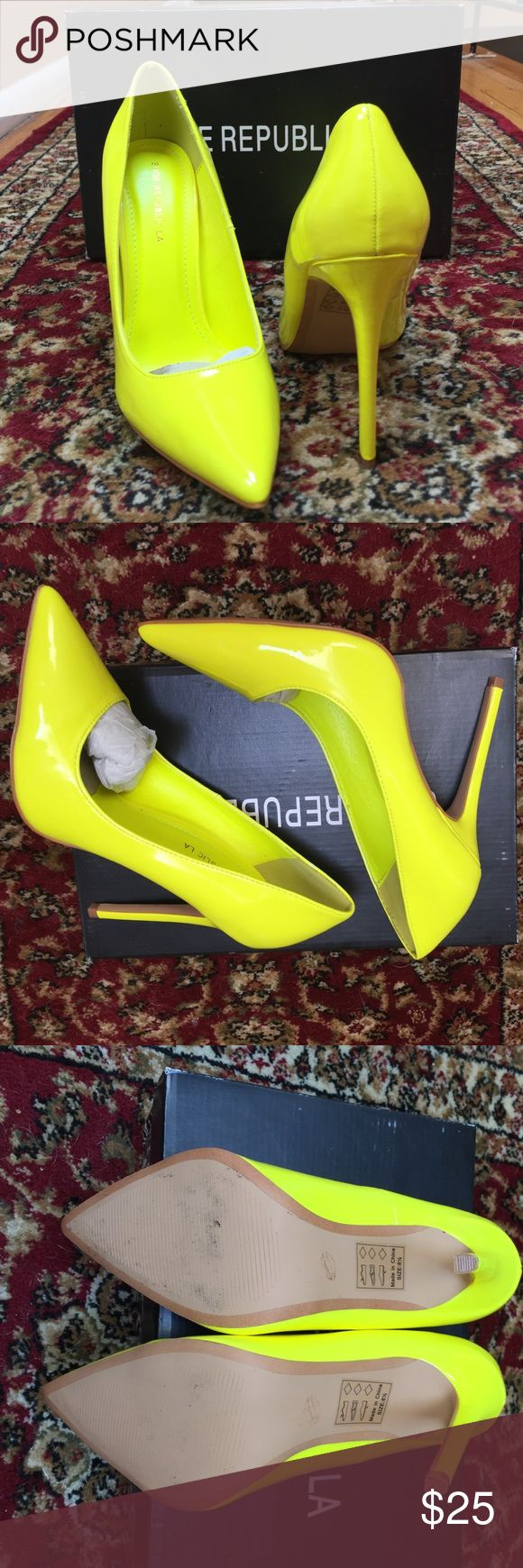 Neon yellow Shoe Republic Heels  Never worn, only tried on with an outfit, neon yellow pair of pumps! Will certainty pop out any outfit. Super cute! Shoe Republic LA Shoes Heels