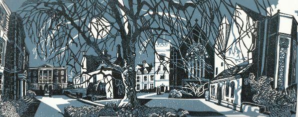 linocut prints | Linocut: Harris Manchester College, Oxford | FLAGSTONE PRESS