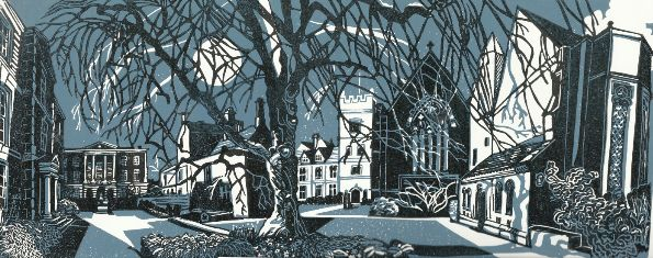 Harris Manchester College, Oxford - Linocut by Robin Wilson, FLAGSTONE PRESS