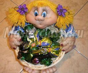 Текстильная кукла-конфетница. Любаша. Мастер-класс с пошаговыми фото