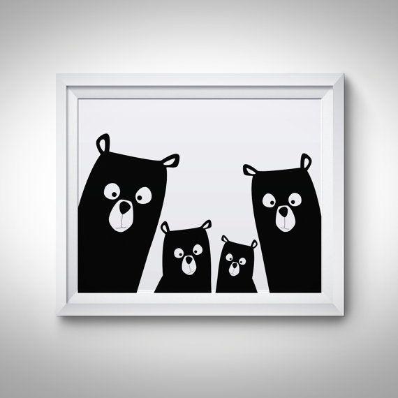 Bear Family Nursery Print Bear Art Poster Black and White