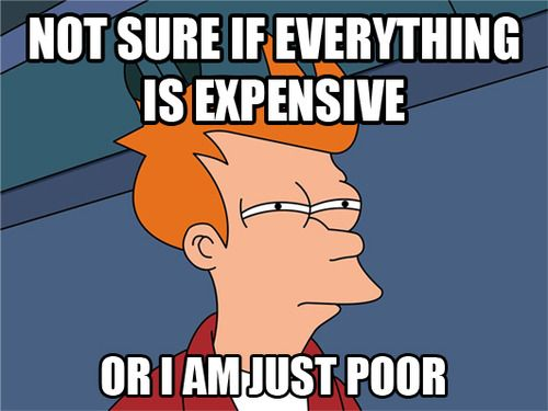 """""""Not sure if everything is expensive or I am just poor"""" (Futurama Fry meme)"""