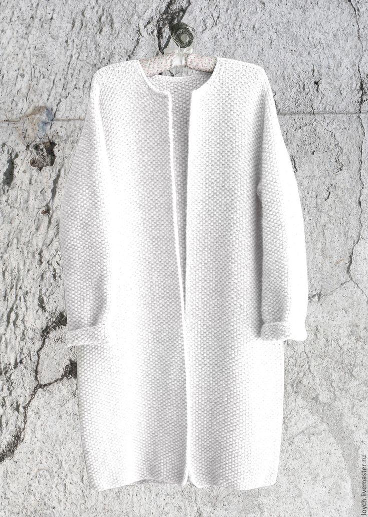 Купить Пальто Оверсайз Вязаное Норка (Белый цвет) - белый, однотонный, пальто оверсайз, оверсайз
