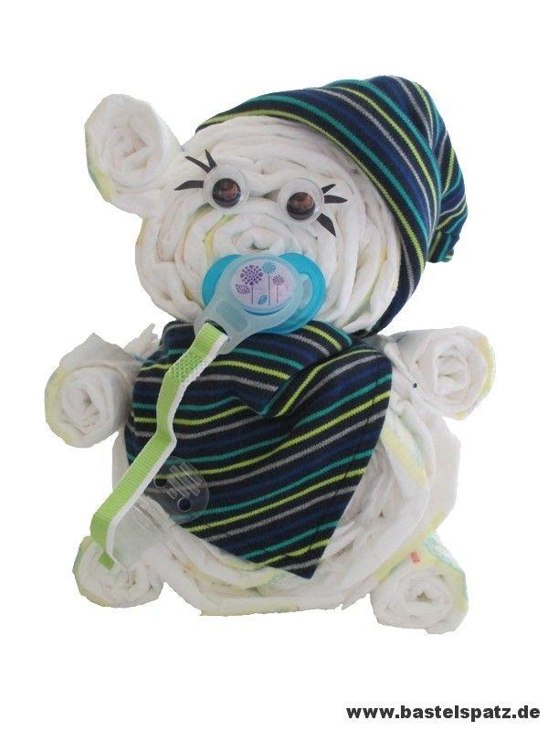 Windelbär, Diaper Cake, Baby Shower, Babyshower, Windeltorte, Windelfigur, Windeltier, Geburtsgeschenk, Diaper Animal Bear