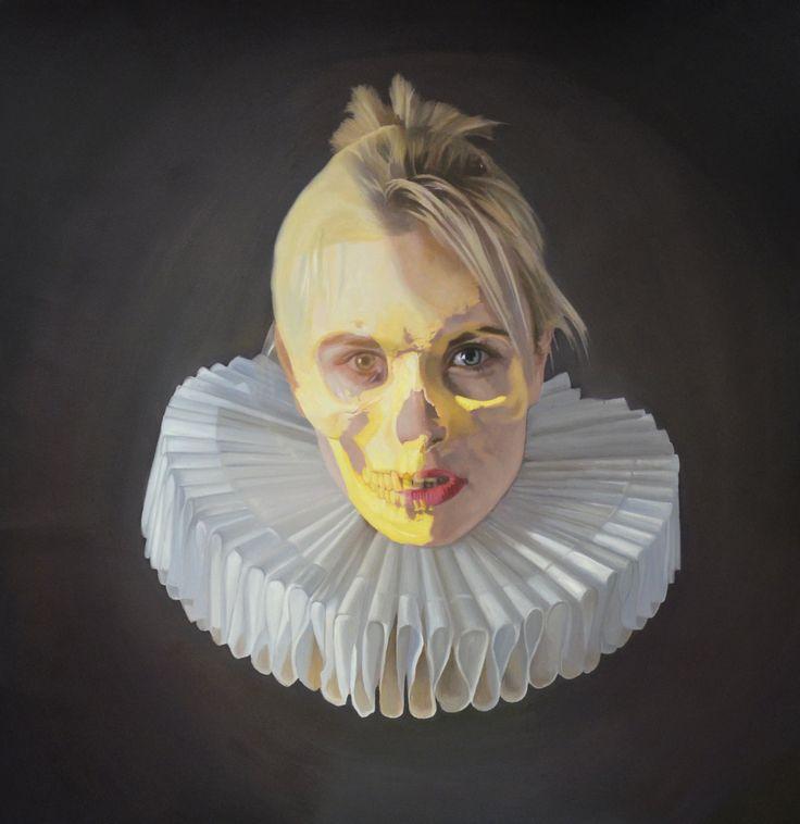 renaissance girl ironic golden age millstone collar art painting oil on canvas Frank E Hollywood gold skull vanitas