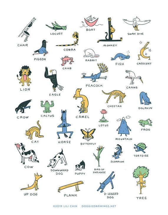 Everybody Yoga! art print (Yoga poses) in 2020 Yoga Poses Names, Yoga Poses For Back, Kids Yoga Poses, Yoga For Back Pain, Yoga For Kids, Yoga Beginners, Beginner Yoga, Advanced Yoga, Yoga Inspiration