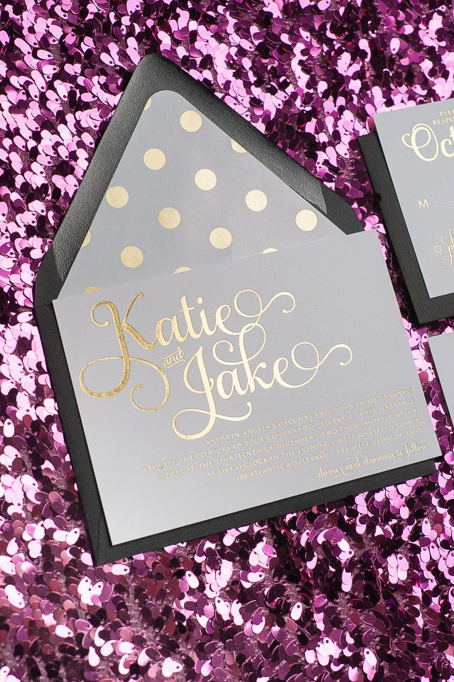 ADELE Suite // STYLED // Cutie Package, Adorable Kate Spade inspired wedding invitations printed in gold foil and paired with gold foil polka dot liners and belly bands!