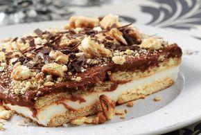 Μπισκοτογλυκό ψυγείου με κρέμα βανίλιας και σοκολάτας. Μια πολύ εύκολη συνταγή για ένα πολύ νόστιμο, δροσερό και ανάλαφρο γλύκισμα ψυγείου για όλες τις ώρε