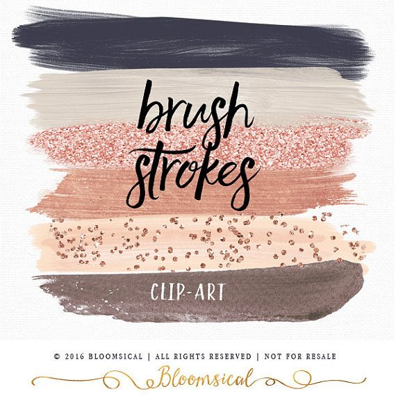 Rose Gold Brush Strokes Palette Clip Art Illustrations  Versatile, can be used to create logos, design web banner, web buttons! https://www.etsy.com/au/listing/267693088