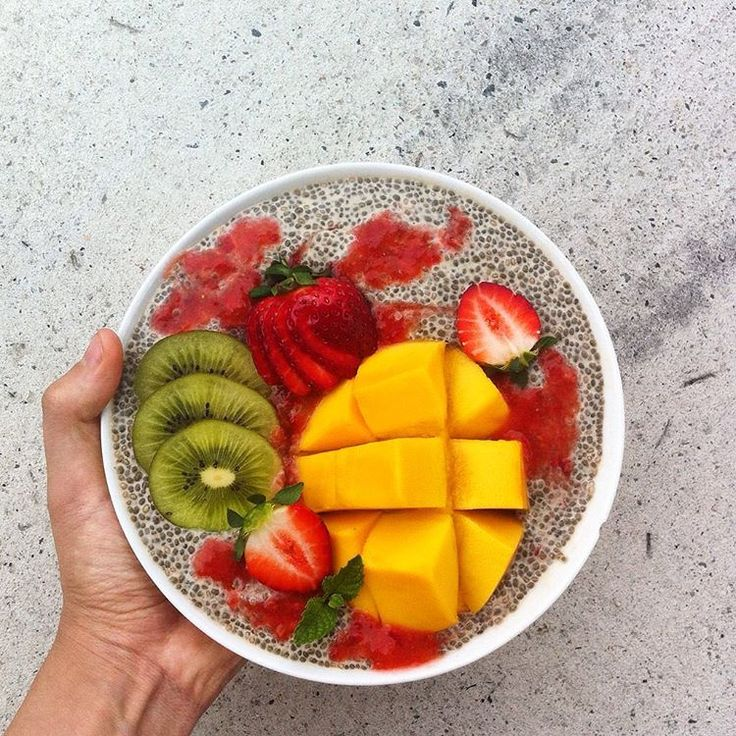 Vanilla chia pudding topped with strawberry, mango & kiwi ~ raw, vegan & refined sugar free!