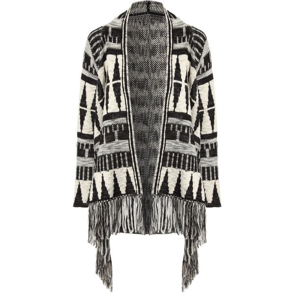 Jane Norman Aztec Fringed Cardigan ($28) ❤ liked on Polyvore featuring tops, cardigans, jackets, outerwear, blk wh, aztec pattern cardigan, slouchy tops, long sleeve fringe top, slouchy cardigan and aztec cardigan