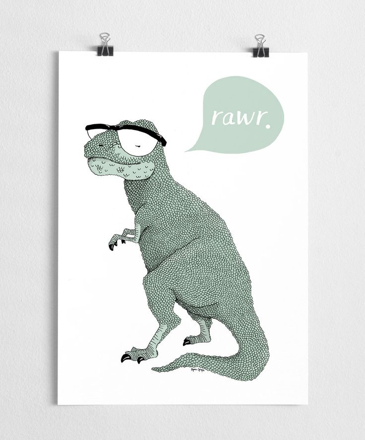 Art print, dinosaur poster, t-rex illustration, hipster art, modern // Rawr by agrapedesign on Etsy https://www.etsy.com/listing/183713476/art-print-dinosaur-poster-t-rex