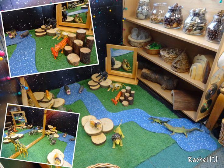 """Massa idéer till förskolemiljö. Simple small world set-up with wild animals - from Rachel ("""",)"""