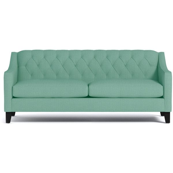 Apt2B Jackson Mint Green Sofa (9,630 CNY) ❤ liked on Polyvore featuring home, furniture, sofas, tufted couch, mint green sofa, light green couch, tufted furniture and light green sofa