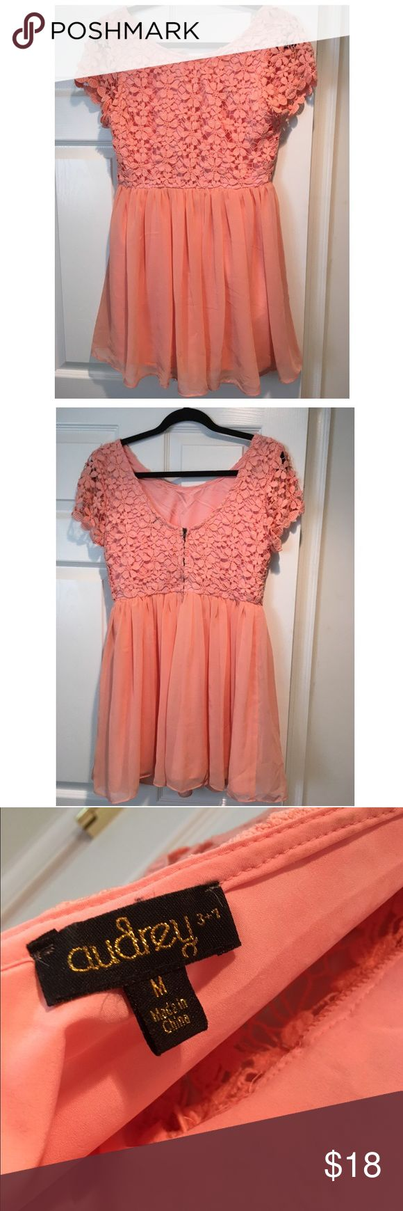 Peach Lace Dress Peach dress with lace top perfect for a wedding. Purchased at Francesca's Dresses Mini