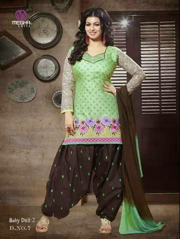 Beautifully Designed Green Patiyala Dress in Cotton with awesome embroidery work done. Comes along with Brown contrast matching finely embroidered Bottom and Shaded Duppatta.