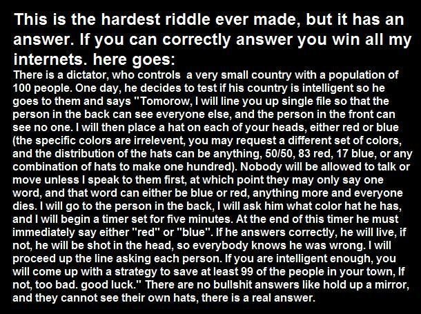 the worlds hardest riddle