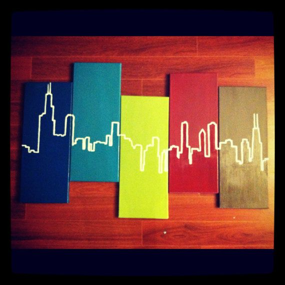 Chicago Skyline 5- panel abstract