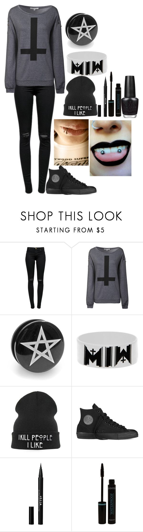 """School Stereotypes --Emo"" by thatemo ❤ liked on Polyvore featuring J Brand, Glamorous, Converse, Stila, OPI, black, converse, emo, piercings and schoolstereotypes"