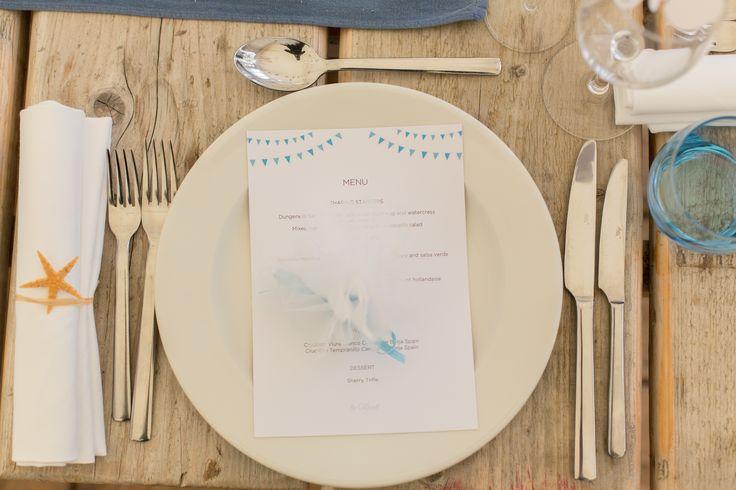 A seaside themed wedding menu created by #novaweddingplanning